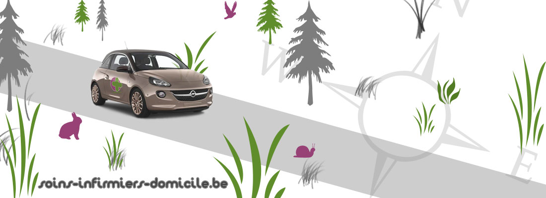 Photomontage représentant une voiture avec une croix d'infirmière à domicile, roulant dans un décors coloré